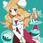 1girl belt blonde_hair blouse blue_background blue_eyes bow caitlin_(pokemon) collarbone dadadanoda diamond_(shape) dress dual_persona expressionless eyebrows_visible_through_hair full_body gallade gen_3_pokemon gen_4_pokemon gen_5_pokemon hair_bow hand_on_own_chin hands_together holding holding_poke_ball long_hair long_sleeves looking_to_the_side multiple_persona one_eye_closed pink_blouse pink_headwear poke_ball pokemon pokemon_(game) pokemon_bw pokemon_dppt ralts red_dress red_footwear reuniclus shiny shiny_hair shoes sidelocks smile solid_oval_eyes solosis strapless strapless_dress tareme time_paradox very_long_hair white_blouse white_bow