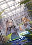 2girls absurdres arknights black_shirt black_skirt demon_horns dragon_horns dutch_angle echj highres holding horns ifrit_(arknights) indoors long_hair looking_at_viewer multiple_girls plant red_eyes saria_(arknights) shirt sketch skirt twintails white_shirt