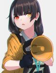 1girl bangs black_gloves black_hair brown_jacket checkered collared_shirt commentary_request eyebrows_visible_through_hair girls_frontline gloves grey_background heterochromia highres holding jacket kuro_kosyou long_hair megaphone open_clothes open_jacket parted_lips red_eyes ro635_(girls_frontline) shirt simple_background solo upper_body white_shirt yellow_eyes