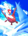 above_clouds absurdres blurry blurry_foreground claws clouds commentary_request day flying gen_3_pokemon highres kikuzunooka latias latios legendary_pokemon no_humans orange_eyes outdoors pokemon pokemon_(creature) sky