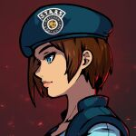 1girl akairiot blue_eyes commission gradient gradient_background hat jill_valentine portrait profile red_background resident_evil shadow solo