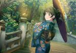 1girl absurdres al_aoi_aoba black_hair blue_kimono bridge brown_eyes closed_mouth commentary_request hair_up hazuki_ren highres holding holding_umbrella huge_filesize japanese_clothes kimono looking_to_the_side love_live! love_live!_superstar!! obi oil-paper_umbrella sash smile solo tree umbrella upper_body