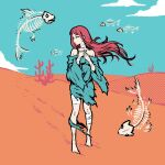 1girl akairiot bandages bare_shoulders barefoot blue_sky clouds cloudy_sky desert fish_skeleton halftone hands_up highres limited_palette long_hair original profile redhead sand sky solo surreal wind