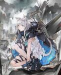 1girl animal_ears arknights black_footwear black_jacket cat_ears cat_girl cat_tail cityscape commentary dress full_body green_eyes grey_hair highres jacket jumbowhopper open_clothes open_jacket outdoors rosmontis_(arknights) scar_on_arm short_hair_with_long_locks solo squatting strap tail white_dress