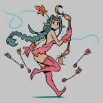 1girl akairiot aqua_hair arrow_(projectile) black_eyes blush boots bow_(weapon) dress full_body gloves grey_background highres holding holding_bow_(weapon) holding_weapon leg_up long_hair looking_at_viewer microdress original parted_lips pink_dress pink_gloves pink_legwear pointy_ears shadow sidelocks simple_background smile solo standing thigh-highs thigh_boots very_long_hair weapon