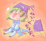 1girl archbishop_(ragnarok_online) bangs blue_dress chibi commentary_request demon deviruchi deviruchi_hat dress fishnet_legwear fishnets frilled_sleeves frills full_body green_hair hat hizukiryou jack-o'-lantern juliet_sleeves long_sleeves open_mouth orange_background pitchfork poking puffy_sleeves ragnarok_online short_hair sitting thigh-highs translation_request white_legwear