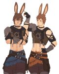 2boys =3 absurdres adventurer_(ff14) alternate_race animal_ears ardbert_(ff14) artist_name belt_pouch black_collar blue_eyes brown_hair clothing_cutout collar commentary cowboy_shot crossed_arms english_commentary facial_hair final_fantasy final_fantasy_xiv fingerless_gloves gloves hand_on_hip highres kemonomimi_mode kia_shie looking_away male_focus midriff multiple_boys navel navel_hair poking pouch rabbit_ears short_hair shoulder_cutout simple_background single_pauldron stubble tassel vambraces viera white_background
