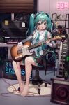 1girl absurdres aina_156cm aqua_eyes aqua_hair aqua_nails aqua_neckwear bare_legs black_skirt book bookshelf can chair computer computer_tower detached_sleeves electric_guitar energy_drink figure guitar hatsune_miku_(nt) headphones highres holding holding_instrument huge_filesize indoors instrument keyboard_(computer) keyboard_(instrument) layered_sleeves long_hair microphone microphone_stand miniskirt monitor monster_energy music nail_polish neck_ribbon office_chair piapro playing_instrument recording_studio ribbon see-through_sleeves shirt shoulder_tattoo sitting skirt sleeveless sleeveless_shirt solo speaker sticky_note tattoo twintails