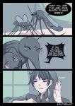 1boy bug butter_sugoi crying english_text grey_shirt headgear highres insect mosquito original shirt sleepwear