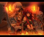 1boy 1girl 2others archer_skeleton archery back-to-back bangs belt black_coat book bow bow_(weapon) brown_belt brown_hair brown_pants closed_mouth coat commentary_request cowboy_shot dagger drawing_bow eyebrows_visible_through_hair fire green_scarf green_shorts green_tubetop hair_between_eyes high_priest_(ragnarok_online) hizukiryou holding holding_book holding_bow holding_bow_(weapon) holding_dagger holding_staff holding_weapon indoors letterboxed long_hair long_sleeves looking_to_the_side midriff monster multiple_others navel pants pouch ragnarok_online ranger_(ragnarok_online) red_eyes redhead scarf short_hair shorts skeleton smile soldier_skeleton staff strapless torch tubetop undead weapon white_coat white_hair wolf