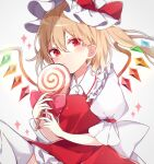 +_+ 1girl bangs blonde_hair bow candy closed_mouth crystal dress eyebrows_visible_through_hair flandre_scarlet food hair_between_eyes hat hat_bow highres holding holding_food lollipop looking_at_viewer mob_cap puffy_short_sleeves puffy_sleeves red_bow red_dress red_eyes short_sleeves side_ponytail simple_background solo thigh-highs touhou white_background white_headwear white_legwear wings yurui_tuhu