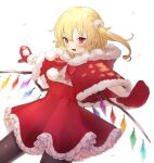 1girl alternate_costume black_legwear blonde_hair blush breath capelet commentary_request cowboy_shot crystal fang flandre_scarlet fur-trimmed_capelet fur-trimmed_hood fur_trim honotai hood hooded_capelet long_hair mittens no_hat no_headwear open_mouth outstretched_arms pantyhose pointy_ears pom_pom_(clothes) red_capelet red_eyes red_skirt shirt side_ponytail skirt smile solo spread_arms touhou white_background white_shirt wings winter_clothes