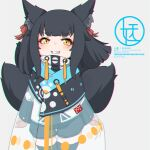 1girl animal_ear_fluff animal_ears bangs black_hair black_legwear black_shorts brown_eyes english_text eyebrows_visible_through_hair fox_ears fox_girl fox_tail grey_background grin highres jacket kitsune kuro_kosyou long_sleeves looking_at_viewer original see-through short_eyebrows short_shorts shorts simple_background sleeves_past_wrists smile solo standing tail thick_eyebrows thigh-highs white_jacket yellow_eyes