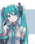 1girl absurdres aqua_eyes aqua_hair aqua_nails aqua_neckwear bare_shoulders black_sleeves commentary cosmetics detached_sleeves grey_shirt hair_ornament hand_up hatsune_miku headphones headset highres holding holding_lipstick_tube krlouvf lips lipstick lipstick_tube long_hair looking_at_viewer makeup nail_polish necktie parted_lips shirt shoulder_tattoo sleeveless sleeveless_shirt solo tattoo twintails twitter_username upper_body very_long_hair vocaloid