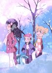 1girl 2boys absurdres bangs bare_tree barry_(pokemon) black_hair blonde_hair blush breath coat dawn_(pokemon) day gen_4_pokemon glaceon green_scarf hair_ornament hairclip hand_in_pocket highres jacket long_hair long_sleeves looking_to_the_side lucas_(pokemon) multiple_boys ochappa outdoors over-kneehighs pants pokemon pokemon_(creature) pokemon_(game) pokemon_dppt pokemon_platinum scarf snow snowing standing striped thigh-highs tree white_legwear