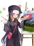 1girl :d absurdres bag beret black_dress black_headwear blush commentary_request dress fang glasses gradient_hair hat highres holding holding_paintbrush hololive hololive_english long_hair multicolored_hair ninomae_ina'nis open_mouth orange_hair paint_on_face paintbrush painting painting_(object) palette purple_hair shoulder_bag smile solo tentacle_hair violet_eyes virtual_youtuber w_wonjin white_background