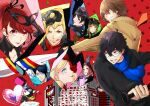 5boys 5girls ahoge akechi_gorou amamiya_ren animal_ears arm_up arms_up ascot athletic_leotard bangs baseball_bat beige_coat belt biker_clothes bikesuit billboard black_bodysuit black_cat black_coat black_gloves black_hair black_headwear black_jacket black_leotard black_mask black_ribbon black_scarf black_vest blonde_hair blouse blue_bodysuit blue_eyes blue_gloves blue_hair blue_jacket blue_scarf blunt_bangs bodysuit braid breaking brown_hair building cat cat_ears cat_tail cavalier_hat cheek_press cheek_squash chiata_(p55656) coat collar collared_jacket cropped_jacket crown_braid curly_hair earrings fox_mask from_side gem glass_shards glasses gloves goggles goggles_on_head graffiti green_gloves grey_eyes grey_mask hair_between_eyes hair_intakes hair_ribbon hand_up hands_up happy hat head_tilt heart heart-shaped_pupils high_collar high_ponytail hime_cut holding holding_baseball_bat holding_heart holding_mask holding_weapon jabot jacket jewelry kitagawa_yuusuke large_hat latex latex_bodysuit leotard light_smile long_hair long_sleeves mask mask_on_head masquerade_mask morgana_(persona_5) multiple_boys multiple_girls niijima_makoto okumura_haru one_eye_closed open_mouth orange_hair outstretched_arms parted_lips persona persona_5 persona_5_the_royal pink_blouse ponytail red_background red_bodysuit red_eyes red_mask red_neckwear redhead ribbon running sakamoto_ryuuji sakura_futaba scarf screen shattered shattering short_hair shoulder_pads shoulder_spikes simple_background skull skull_mask smile spikes star_(symbol) steel_mask stud_earrings swept_bangs symbol-shaped_pupils tail takamaki_anne teeth tongue tongue_out treasure trench_coat tuxedo twintails utility_belt v vest weapon white_mask yellow_gloves yellow_scarf yoshizawa_kasumi