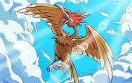 black_eyes clouds commentary_request fearow gen_1_pokemon lens_flare looking_down no_humans open_mouth pokemon pokemon_(creature) q-chan sky solo talons tongue