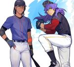 2boys alternate_costume baseball_bat baseball_cap baseball_mitt belt black_hair black_headwear black_legwear bright_pupils commentary_request dark_skin dark_skinned_male earrings facial_hair floating_hair gloves gym_leader hand_on_hip hat jewelry leg_up leon_(pokemon) long_hair male_focus mj_(11220318) multiple_boys pants parted_lips pokemon pokemon_(game) pokemon_swsh purple_hair raihan_(pokemon) shirt shoes short_sleeves socks sweat white_pants white_pupils yellow_eyes