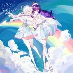 2girls bare_shoulders benghuai_xueyuan bird blue_dress blue_eyes blue_hairband blue_sky bow bowtie breasts character_request choker closed_mouth clouds collarbone commentary_request detached_collar dress dress_flower eyebrows_visible_through_hair flower frilled_dress frills full_body hairband highres holding_hands honkai_(series) kiana_kaslana leaning_on_person long_hair low-tied_long_hair medium_breasts midair multiple_girls off-shoulder_dress off_shoulder one_eye_closed open_mouth outdoors pink_ribbon pleated_dress ponytail purple_hair raiden_mei rainbow ribbon shawl skindentation sky sleeveless sleeveless_dress smile strapless strapless_dress taiz22 thigh-highs v violet_eyes white_choker white_dress white_flower white_footwear white_hair white_legwear white_neckwear zettai_ryouiki