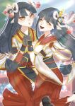 2girls black_hair blush hinoa holding_hands ichiboshi_hajime japanese_clothes kimono long_hair minoto monster_hunter monster_hunter_(series) monster_hunter_rise pointy_ears siblings twins
