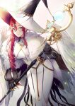 1girl bird_wings dress earrings fate/grand_order fate_(series) feather_boa hat highres holding holding_staff jewelry long_dress long_hair mentaikopan miss_crane_(fate) redhead staff wings witch_hat