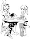2girls :d absurdres animal_ears bare_shoulders blush bowl chair chopsticks dress earrings elbow_gloves eyewear_on_head final_fantasy final_fantasy_xiv fingerless_gloves fingernails food from_side glasses gloves greyscale highres holding holding_chopsticks jewelry long_hair mnnnya mole mole_under_eye monochrome multiple_girls noodles omega-f open_mouth parted_lips ponytail rabbit_ears ramen shoes simple_background sitting smile stool tailcoat thigh-highs viera white_background