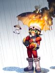 1boy black_hair black_umbrella bodysuit boots burning commentary_request cosplay fire fireman.exe fireman.exe_(cosplay) full_body gloves green_eyes grey_background grey_footwear holding holding_umbrella looking_to_the_side looking_up male_focus mask mega_man_(series) mega_man_battle_network megaman.exe napo netnavi outdoors rain red_bodysuit red_gloves short_hair simple_background smoke solo standing teruterubouzu umbrella