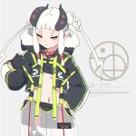 1girl bead_necklace beads black_gloves black_jacket black_shorts blush curled_horns english_text fingerless_gloves gloves grey_background hand_on_hip highres horns jacket jewelry kuro_kosyou long_hair long_sleeves navel necklace open_clothes open_jacket original parted_lips pointy_ears puffy_long_sleeves puffy_sleeves see-through short_eyebrows short_shorts shorts simple_background solo standing thick_eyebrows twintails white_hair yellow_eyes