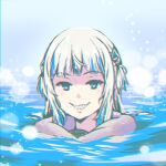 1girl akairiot bangs blue_eyes blue_hair english_commentary gawr_gura hololive hololive_english long_hair looking_at_viewer multicolored_hair parted_lips portrait sharp_teeth smile solo streaked_hair swimming teeth virtual_youtuber water white_hair