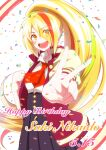 artist_request blonde_hair commentary_request confetti green_hair hair_over_one_eye happy_birthday high-waist_skirt high_ponytail highres jacket letterman_jacket long_hair long_skirt looking_at_viewer multicolored_hair nikaidou_saki open_clothes open_jacket open_mouth orange_hair skirt streaked_hair upper_body v white_background zombie_land_saga