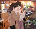 2girls bag blurry blurry_background bottle brown_eyes brown_hair brown_jacket brown_sweater clock closed_eyes closed_mouth door earrings handbag highres holding holding_bottle indoors jacket jewelry lamp long_sleeves looking_at_another medium_hair mole mole_under_eye multiple_girls nail_polish open_mouth original plant ponytail saitou_(lynx-shrike) skirt smile standing sweater table window