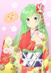 1girl absurdres antenna_hair blue_eyes blush boar floral_background floral_print frog_hair_ornament hair_ornament highres japanese_clothes kanpa_(campagne_9) kimono kochiya_sanae looking_at_viewer obi pink_background red_kimono sash simple_background sleeves_past_wrists smile snake_hair_ornament solo touhou upper_body wide_sleeves