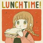 1girl :3 :t bacon bangs beige_border blush border braid bread chewing closed_mouth eating english_text film_grain food from_side halftone hands_up highres holding holding_food keke_(kotowari) lettuce light_brown_hair limited_palette long_hair long_sleeves looking_at_viewer low_twin_braids low_twintails muted_color no_nose notice_lines original outside_border pink_sweater puffy_long_sleeves puffy_sleeves red_background rounded_corners sandwich signature solo suspenders sweater tareme twin_braids twintails two-tone_background upper_body yellow_eyes