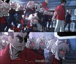 6+girls beelzebub_(helltaker) boots cerberus_(helltaker) chain ddolbang demon_girl demon_horns demon_tail fighting_stance gloves grin helltaker helltaker_(character) highres horns judgement_(helltaker) justice_(helltaker) knee_boots lucifer_(helltaker) maid malina_(helltaker) modeus_(helltaker) multiple_girls pandemonica_(helltaker) parody portal_(object) red_eyes red_shirt shirt smile tail white_hair zdrada_(helltaker)