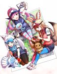 3girls :d ;d absurdres ahoge alolan_form alolan_vulpix alternate_costume animal_ears apple aqua_eyes arm_up asymmetrical_hair backpack bag black_hair black_legwear blonde_hair blue_headwear blue_legwear blue_ribbon blue_shorts blue_vest blush braid breasts camera colored_inner_hair commentary drill_hair ear_piercing eevee eyebrows_visible_through_hair facepaint feeding food fox_ears fox_tail fruit full_body gen_1_pokemon gen_2_pokemon gen_7_pokemon grass hair_between_eyes hair_ribbon highres holding holding_camera holding_food holding_fruit hololive kneeling legwear_under_shorts light_blue_hair long_hair medium_breasts minato_aqua mismatched_legwear multicolored_hair multiple_girls new_pokemon_snap omaru_polka one_eye_closed open_mouth pantyhose photo_(object) piercing pink_eyes pink_hair pink_legwear red_headwear red_vest ribbon rock selfie shirakami_fubuki shirt shoes short_shorts short_sleeves shorts side_braid single_braid sitting smile streaked_hair striped striped_legwear sweatband tail taking_picture twin_drills twintails two-tone_hair vest violet_eyes virtual_youtuber visor_cap vulpix white_footwear white_hair white_shirt wooper wristband yuu201023 zipper