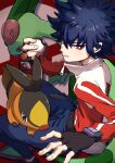 1boy bangs black_gloves blue_hair blue_pants bright_pupils commentary_request fingerless_gloves flygon gen_3_pokemon gen_5_pokemon gloves highres holding holding_poke_ball hugh_(pokemon) jacket long_sleeves looking_back male_focus mato. pants parted_lips poke_ball poke_ball_(basic) pokemon pokemon_(creature) pokemon_(game) pokemon_bw2 red_eyes shoes short_hair sitting starter_pokemon tepig white_pupils