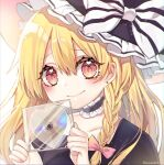 1girl album_cover artist_name bangs black_clothes black_headwear black_neckwear blonde_hair blush bow closed_mouth cover eyebrows_visible_through_hair hair_ornament hands_up hat kirisame_marisa kyouda_suzuka long_hair looking_at_viewer md5_mismatch orange_eyes pink_bow short_sleeves short_twintails simple_background sleeveless smile solo touhou twintails white_background white_bow witch_hat