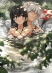 1boy 1girl animal_ears bead_necklace beads black_eyes black_hair blurry blurry_foreground blush branch bush closed_mouth clothes_removed commentary completely_nude dappled_sunlight day dog_ears eyebrows_visible_through_hair full_body hair_between_eyes hand_on_own_knee hands_together highres higurashi_kagome inuyasha inuyasha_(character) jewelry long_hair looking_away looking_back motobi_(mtb_umk) necklace nude onsen outdoors partially_submerged ripples silver_hair sitting sparkle steam straight_hair sunlight symbol_commentary twitter_username water wet yellow_eyes