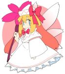 1girl bangs blonde_hair bow bowtie capelet cropped_legs dress fairy fairy_wings flower frilled_dress frills hat hat_bow holding holding_flower ini_(inunabe00) lily_white long_dress long_hair red_bow red_neckwear sidelocks sleeves_past_wrists solo touhou white_dress wide_sleeveas wings