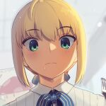 1girl ahoge artoria_pendragon_(all) blonde_hair boa_(brianoa) bow bowtie burger ceiling close-up closed_mouth collared_shirt commentary_request drooling eyebrows_visible_through_hair eyes_visible_through_hair fate/stay_night fate_(series) food fork green_eyes hair_between_eyes holding holding_fork indoors light_blush pinstripe_pattern pinstripe_shirt restaurant saber saliva shirt short_hair solo striped tile_ceiling tiles two-tone_neckwear