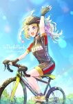 1girl :d alternate_costume arm_up bicycle bicycle_helmet blonde_hair blue_sky blush collared_shirt commission eyebrows_visible_through_hair fingerless_gloves fire_emblem fire_emblem_awakening gloves grey_eyes ground_vehicle helmet highres lissa_(fire_emblem) mihayuuno open_mouth riding_bicycle shirt shoes shorts sky smile sneakers solo twintails twitter_username