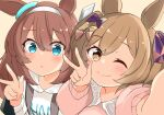 2girls ;) animal_ears bangs barashiya blue_eyes blush bow brown_background brown_bow brown_eyes brown_hair closed_mouth collared_shirt commentary_request eyebrows_visible_through_hair hair_between_eyes hair_bow hood hood_down hoodie horse_ears mihono_bourbon_(umamusume) multiple_girls one_eye_closed parted_lips pink_shirt purple_bow reaching_out selfie shirt simple_background smart_falcon_(umamusume) smile umamusume upper_body white_hoodie