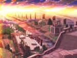 clouds commentary_request highres hizukiryou monster no_humans purple_sky ragnarok_online river ruins scenery skeggiold sun sunset tree water