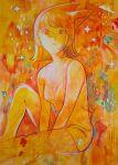 1girl animal_ears bangs breasts highres imo_metako looking_at_viewer medium_breasts medium_hair orange_theme original parted_lips solo traditional_media