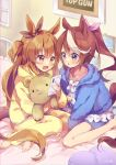 2girls :d :o animal_ears bangs barefoot blue_eyes blue_jacket blush bow brown_eyes brown_hair brown_ribbon cellphone collarbone commentary_request ear_ribbon ech eyebrows_visible_through_hair frilled_pillow frills hair_between_eyes hair_ribbon heart heart_pillow high_ponytail highres holding holding_phone hood hood_down hooded_jacket horse_ears horse_girl horse_tail indoors jacket long_hair long_sleeves mayano_top_gun_(umamusume) multicolored_hair multiple_girls object_hug on_bed open_clothes open_jacket open_mouth orange_eyes orange_hair pajamas parted_lips phone picture_(object) pillow pink_ribbon ponytail ribbon signature sitting smartphone smile streaked_hair stuffed_animal stuffed_toy tail teddy_bear tokai_teio_(umamusume) two-tone_hair two_side_up umamusume very_long_hair wariza white_bow white_hair yellow_pajamas yokozuwari