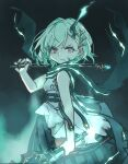 1girl angry buckle closed_mouth dress glowing green_hair hair_ornament hairclip holding holding_instrument instrument ishikoro1645 little_match_girl_(sinoalice) looking_at_viewer red_eyes scarf short_hair sinoalice sketch solo violin