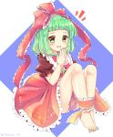 1girl :d barefoot blush bow brown_dress commentary_request dress feet frills front_ponytail full_body green_eyes green_hair green_nails hair_bow hands_together kagiyama_hina knees_up looking_at_viewer nail_polish open_mouth ramudia_(lamyun) red_bow short_bangs simple_background sitting smile solo toes touhou white_background