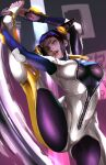 1girl absurdres alternate_color biker_clothes bikesuit black_hair breasts capcom drill_hair eyepatch feet han_juri highres john_tazukura large_breasts looking_at_viewer skin_tight solo special_moves street_fighter street_fighter_v thighs tongue twin_drills upper_teeth violet_eyes zipper