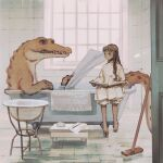 1girl bangs barefoot bathroom bathtub bloomers book broom brown_hair child crocodile crocodilian dress highres holding holding_book indoors long_hair original rt0no sitting soap tile_floor tiles toothbrush underwear white_dress window